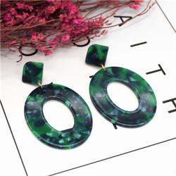 E-5224  4 Colors Acrylic Drop Dangle Oval Shape Amber Pattern Earrings For Women Jewerly