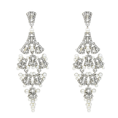 E-5227  Fashion Silver Gold Metal Rhinestone Pearl Statement Drop Earrings for Women Bridal Wedding Party Jewelry