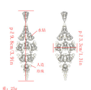 E-5227  Fashion Silver Gold Metal Rhinestone Pearl Statement Drop Earrings for Women Bridal Wedding Party Jewelry