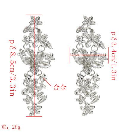 E-5222  Elegant Silver Gold Metal Flower Drop Earrings for Women Bridal Wedding Party Jewelry Gift