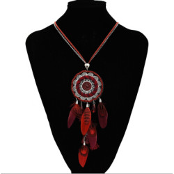 N-7199  Ethnic Boho Handmade Round Tassel Pendant Necklace For Women Party Jewelry