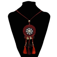 N-7200  Ethnic Pearl Shell Pendant Thread Tassel Necklaces for Women Boho Festival Party Jewelry