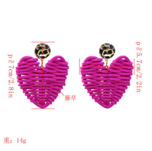 E-5225  4 Colors Cane Grass Love Heart Cute Earrings
