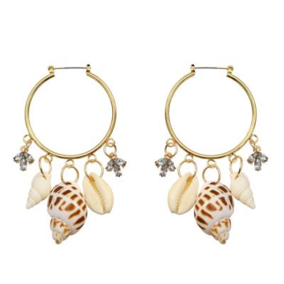 E-5226 Trendy Gold Metal Shell Tassel Earrings for Women Bridal Beach Party Jewelry Gift