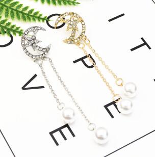 E-5223  Fashion Gold Metal Full Rhinestone Long Tassel Drop Earrings for Women Bridal Wedding Jewelry