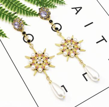 E-5233  2 Style Fashion Trendy Gold Statement Long Dangle Pearl Bee Shaped Earrings Elegant Wedding Earrings
