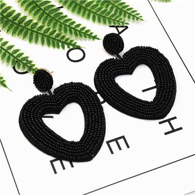 E-5236  6Colors beads Dangle Heart Shape  Cute Earrings For Women Jewerly