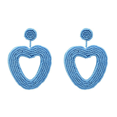 E-5236  6Colors beads Dangle Heart Shape  Cute Earrings For Women Jewerly