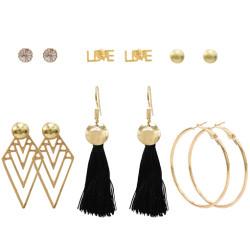 E-5234  6 Pairs/set Gold Metal Geometric Shape Cotton Fringe Tassel Earrings for Women Party Jewelry Gift