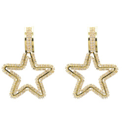E-5230 Cute Gold Metal Star Shape Rhinestone Drop Earrings for Women Girl Party Jewelry