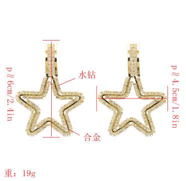 E-5230 Cute Gold Metal Star Shape Rhinestone Drop Earrings for Women Girl Party Jewelry