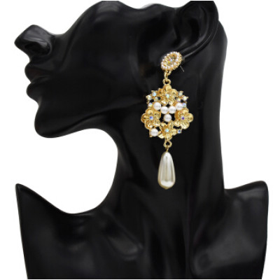 E-5231  Fashion Trendy Gold Statement Long Dangle Pearl Earrings Elegant Rhinestone Crystal Tassel Wedding Earrings
