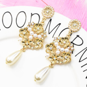 E-5231  Fashion Trendy Gold Statement Long Dangle Pearl Earrings Elegant Rhinestone Crystal Tassel Wedding Earrings