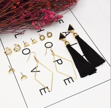 E-5235  6 Pairs/set New Trendy Gold Metal Moon Shape Cotton Tassel Earrings for Women Party Jewelry