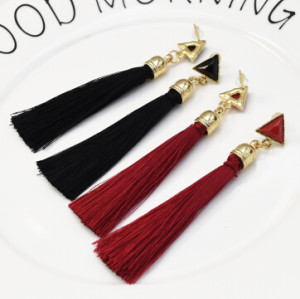E-5235  6 Pairs/set New Trendy Gold Metal Moon Shape Cotton Tassel Earrings for Women Party Jewelry