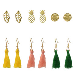 E-5244 6 Pairs/set New Trendy Gold Metal Heart Leaf Shape Pearls Crystal Tassel Earrings for Women Party Jewelry