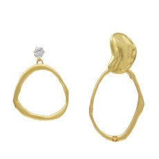E-5241 Fashion Geometric Shape Gold Metal Drop Earrings for Women Party Jewelry Gift