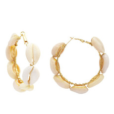 E-5242  2 Colors Fashion Round Pearl Alloy Big Earring For Woman Jewelry Design