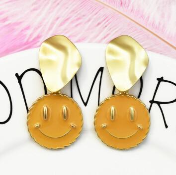 E-5248 Fashion Geometric Smile Shape Gold Metal Drop Earrings for Women Party Jewelry Gift