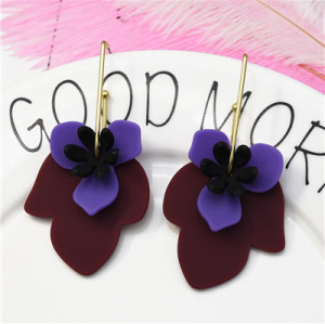 E-5250  3 Colors Flower Cute Acrylic Drop Dangle Earring For Women Jewelry Design