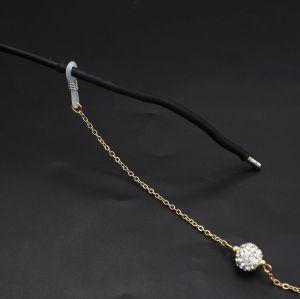 N-7203 Fashion White Black Rhinestone Ball Eye Glasses Chains Sunglasses Spectacles Chains Party Jewelry