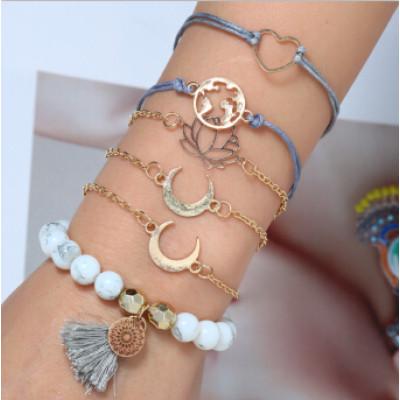 B-0956  6Pcs/Set 2 Styles Bohemian Multilayer Acrylic Beads Bracelets & Bangles Charm Party Jewelry