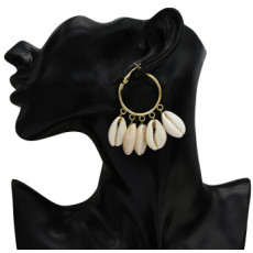E-5249  2 Colors Fashion Round Shell Alloy Big Earring For Woman Jewelry Design