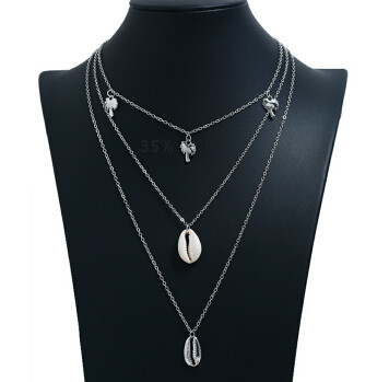 N-7204 Vintage Ethnic Silver Gold Alloy Shell Statement Necklace For Women Fashion Jewerly