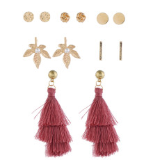 E-5246  6 Pairs/Set Boho Gold Metal Leaves Shape Pearl Drop Earrings Sets for Women Party Jewelry