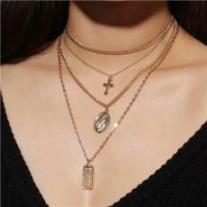 N-7205  2 Colors Multi-Layer Chain Ladies Elegant Necklace Pendant Necklace