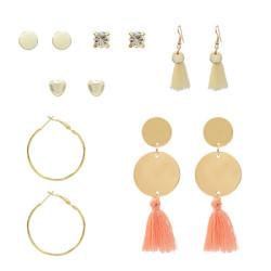 E-5247  6 Pairs/Set Gold Metal Tassel Diamond Drop Earrings Stud Earrings For Women Party Jewelry