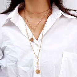 N-7206 Multi-Layer Chain Star Heart Coin Ladies Elegant Necklace Pendant Necklace