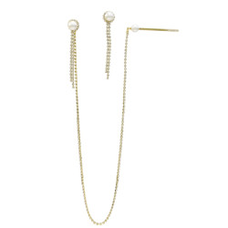 E-5254 Fashion  Silver Gold Color Pearl Rhinestone Drop Earrings with Hair Clip Party Jewelry