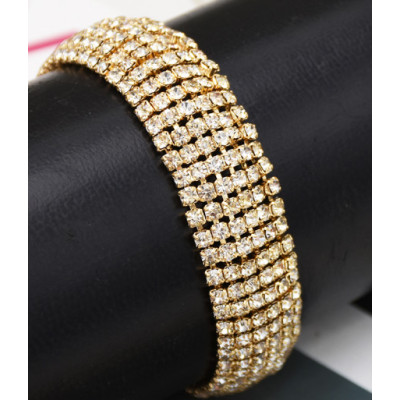 B-0955 Gold Silver Trendy Unique Full  Shining Crystal Rhinestone Little Acrylic Sequins Cuff Bracelet Bangle For Women