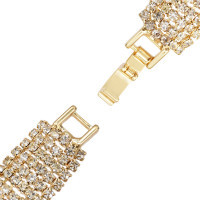 B-0955 Gold Silver Trendy Unique Full  Shining Crystal Rhinestone Little Acrylic Sequins Cuff Bracelet Bangle For Women