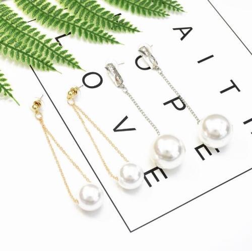E-5256  2 Style Gold Silver Metal Artificial Pearls Dangle Earrings For Women Girl