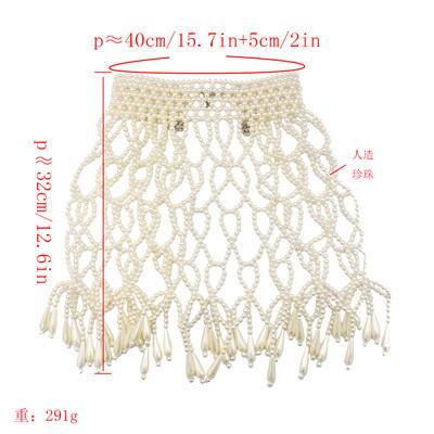 N-7209 Pearl Statement Choke Collar Necklace Bohemian For Women Shawl