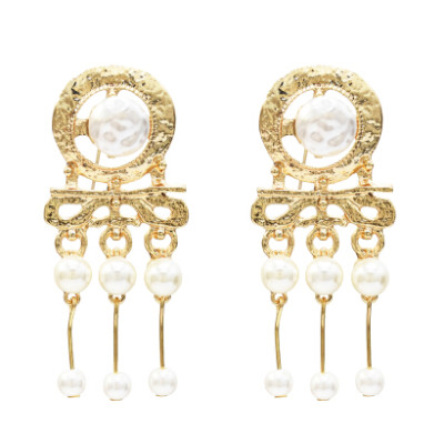 E-5260 Fashion Big Silver Gold Metal Simulated Pearl Drop Earrings for Women Girl Party Jewelry