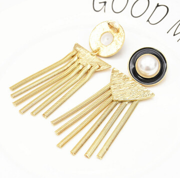 E-5261  2 Colors Fashion Simulated Pearl  Silver Gold Metal Drop Wedding Earrings for Women Girl Party Jewelry