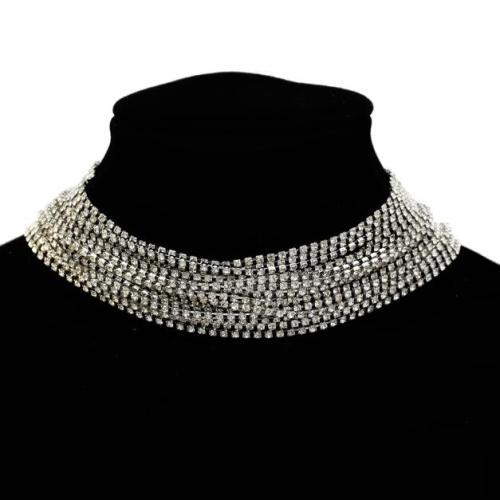 N-7210 Multi-Layer Silver Chain 17 Row Full Clear Rhinestone Choker Necklace