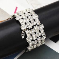 B-0957 Bohemia Trendy Unique Full  Shining Crystal Rhinestone Little Acrylic Sequins Cuff Bracelet& Bangle For Women Jewelry Design