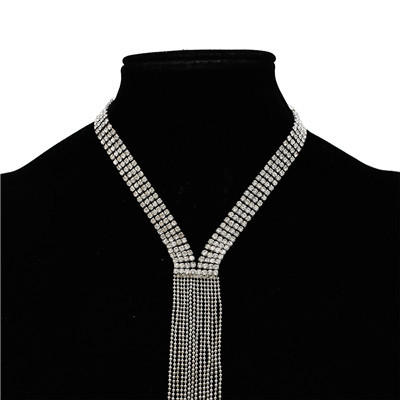 N-7212 Silver Gold Long Tassel Rhinestone Alloy Necklace for Woman Jewelry Design