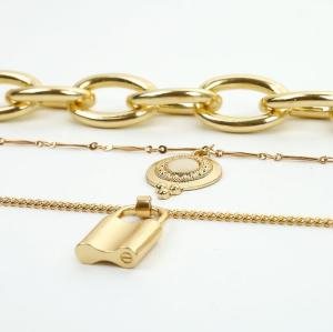 N-7213 Multi-Layer Link Chain Gold Silver Lock Charm Choker Necklace