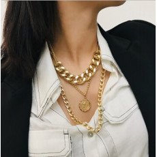 N-7214 Fashion Multilayers Gold Silver Color Coin Tassel Necklaces for Women Wedding Party Jewelry