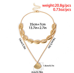 N-7216 Summer Beach Turkish Silver Gold Shell Statement Necklace for Women's Jewelry Design