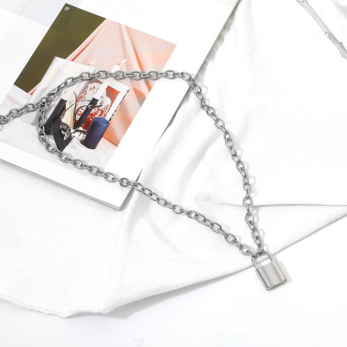 N-7215 Multi-Layer Link Chain Gold Silver Lock Charm Choker Necklace