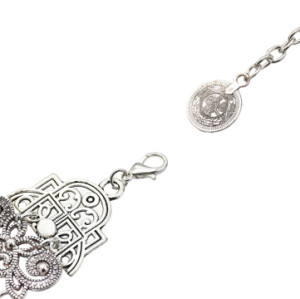 B-0962 Trendy Vintage Silver Carved Flower Coin Bracelet For Women Jewelry Design