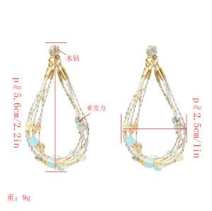 E-5264 Electroplated Color Earrings Bohemian Beaded Eardrop Geometric Dangle Earrings