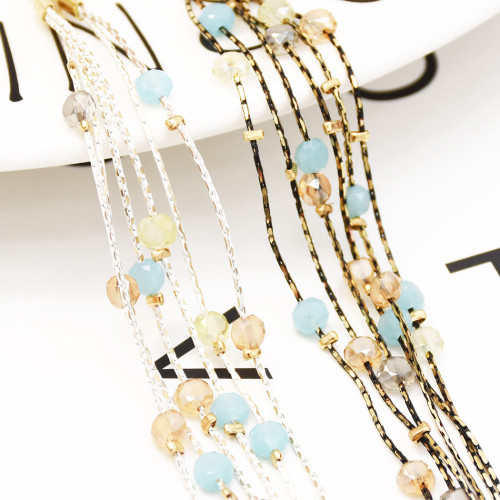 E-5264 Electroplated Color Earrings Bohemian Beaded Eardrop Geometric Dangle Earrings