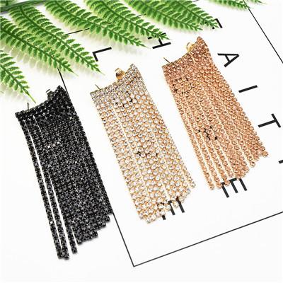 E-5267  4 Colors Long Tassel Rhinestone Earring for Women Wedding Jewelry